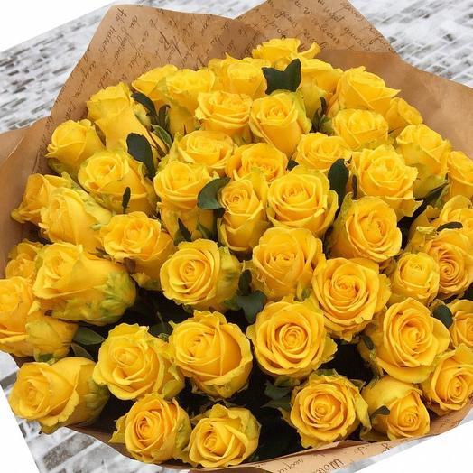 51-желтая роза 60см: букеты цветов на заказ Flowwow