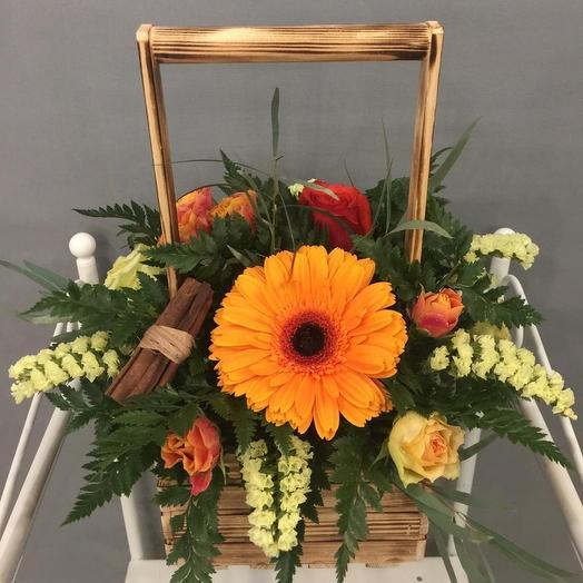 Уют. Композиция в деревянном ящичке: букеты цветов на заказ Flowwow