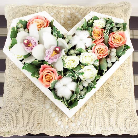 "Сердце ""Зимние кружева"": букеты цветов на заказ Flowwow"