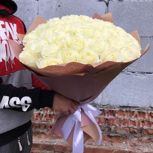 Шикарный букет 51 белая роза: букеты цветов на заказ Flowwow