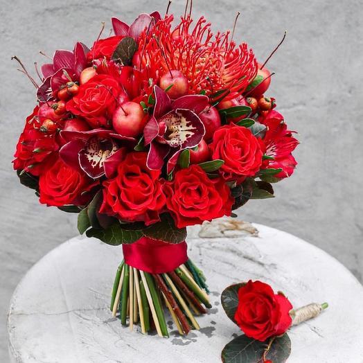 Экзотический свадебный букет с бутоньеркой: букеты цветов на заказ Flowwow
