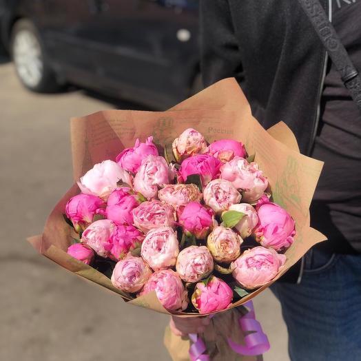 Пионы разноцветный микс 25 шт: букеты цветов на заказ Flowwow