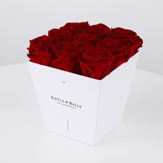 Долговечный букет из 9 роз (бордовый): букеты цветов на заказ Flowwow