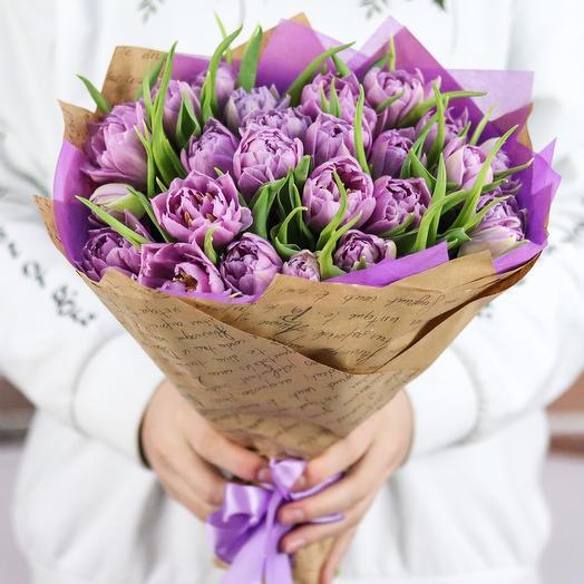 Букет из 25 пионовидных тюльпанов. N720
