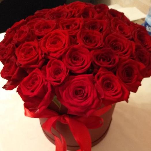 Розы голландские в шляпной коробке 51 Шт: букеты цветов на заказ Flowwow