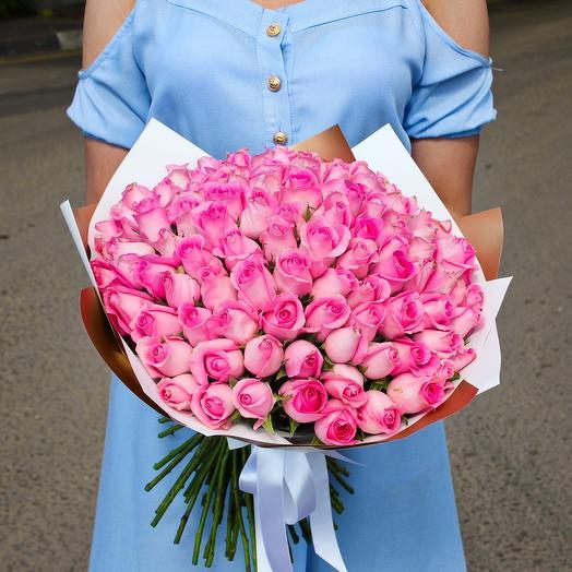 101 розовая Роза, 40см: букеты цветов на заказ Flowwow
