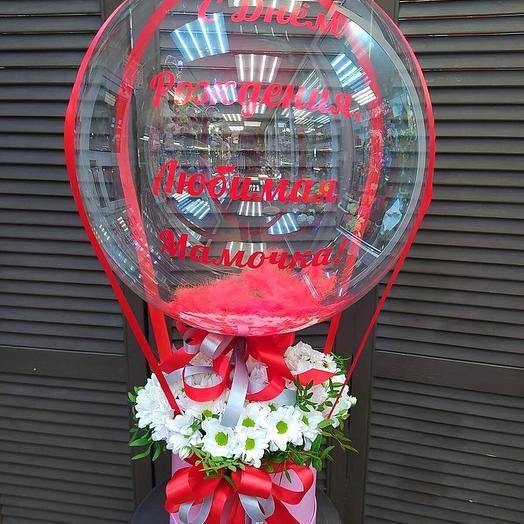 Цветочная коробка с шаром баблс