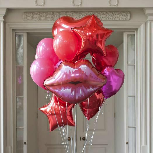 Букет фонтан шаров Поцелуй счастья
