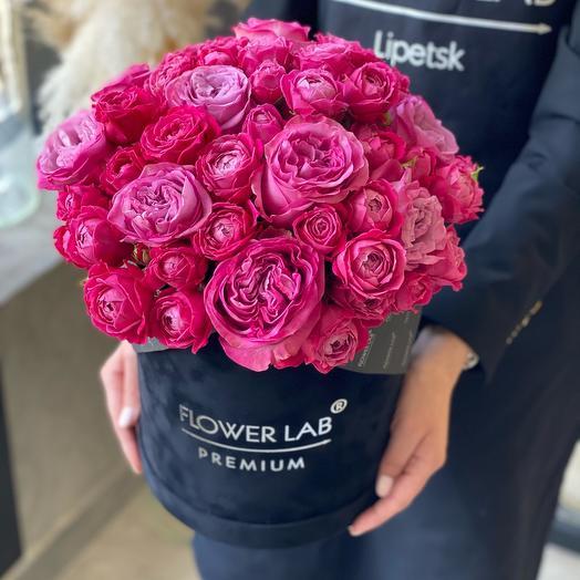 Цветы в коробке Малиновый