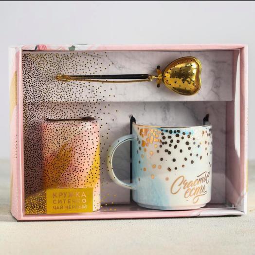 Подарочный набор «Счастье есть»: кружка 350 мл, сито, чай чёрный 25 г