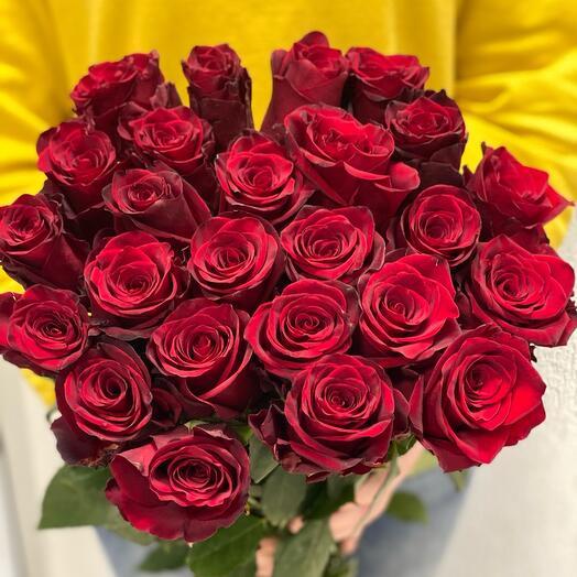19 бордовых  роз 70см
