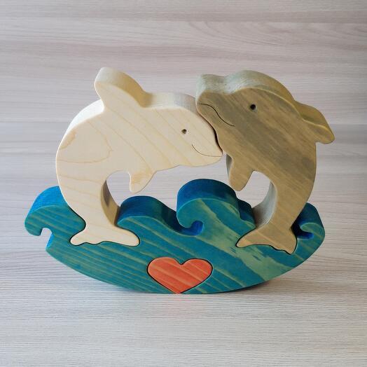 """Деревянный пазл-качалка из кедра ручной работы """"Влюбленные дельфины"""", 4 элемента"""