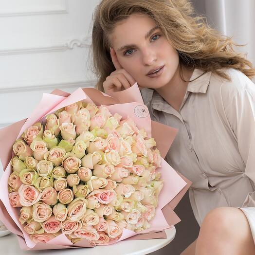 Букет из 101 розы Кения 40см