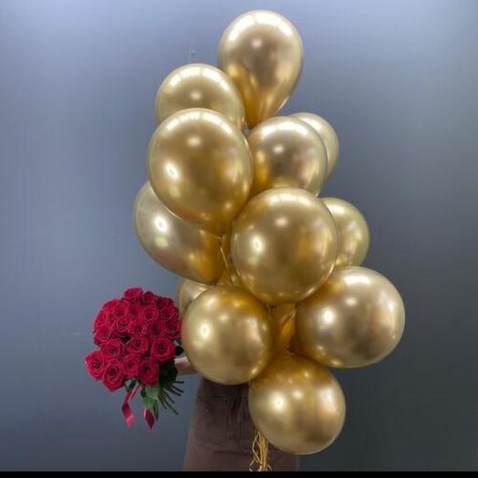 15 гелиевых шаров хром золото
