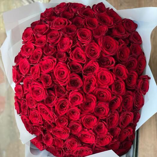 101 красная роза 40см