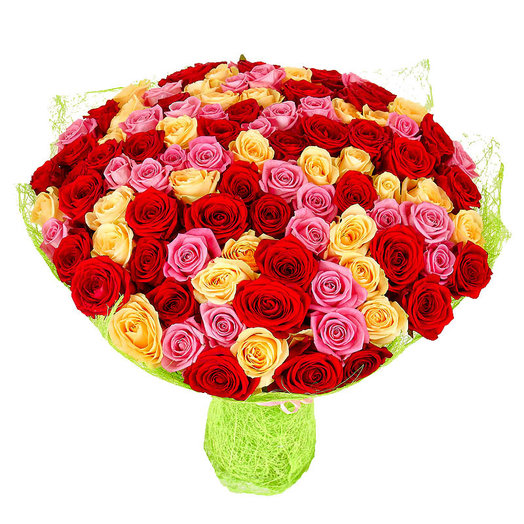 51 разноцветная роза: букеты цветов на заказ Flowwow