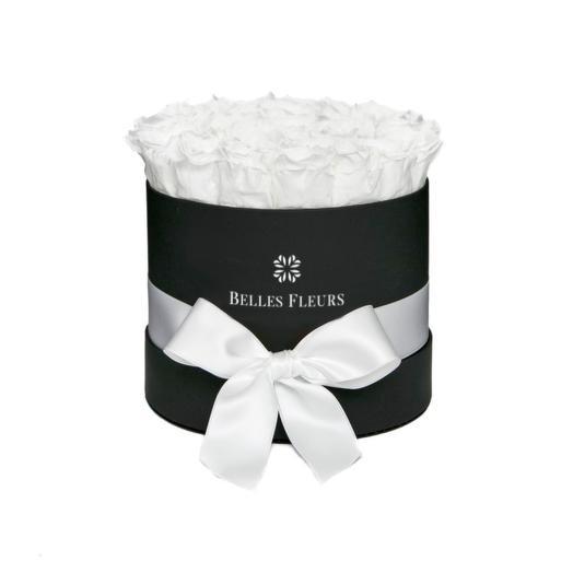 Букет вечных белых роз в шляпной коробке: букеты цветов на заказ Flowwow