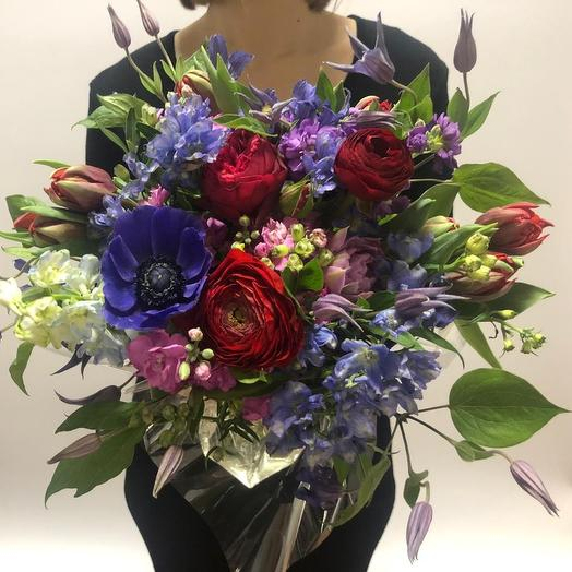 Анемоны и Клематис: букеты цветов на заказ Flowwow