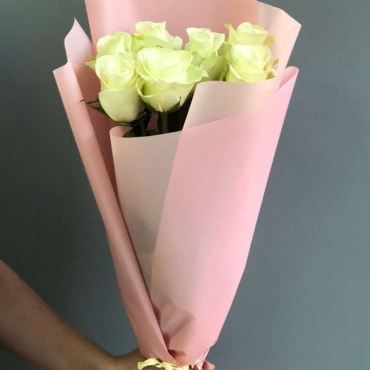 "Букет из 7 белых роз ""Маргарита"": букеты цветов на заказ Flowwow"