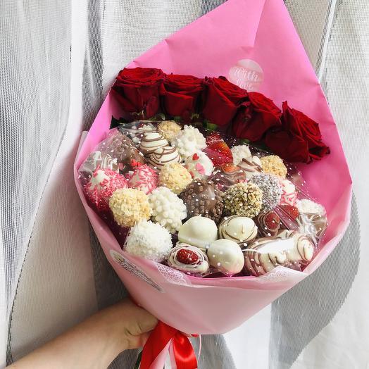 Клубничное чудо: букеты цветов на заказ Flowwow
