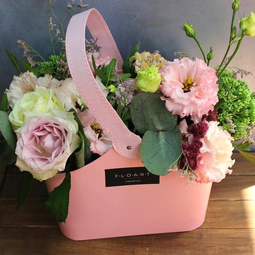 """Розовая сумка с цветами """"Нежный вкус"""""""