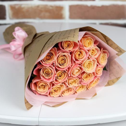 Розы. Букет из 19 персиковых роз. N653