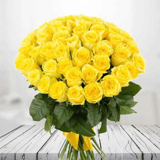 101 жёлтая роза 40 см