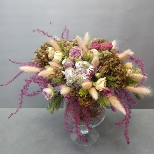 Интерьерная композиция из сухоцветов: букеты цветов на заказ Flowwow