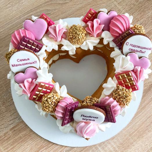 Торт сердце Розовый фламинго