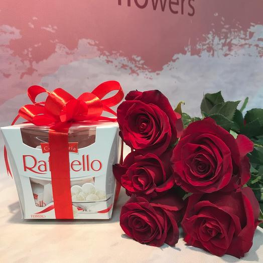 5 роз и конфеты