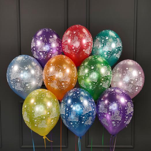 Воздушные разноцветные шарики металлик С днём рождения! 15 шт
