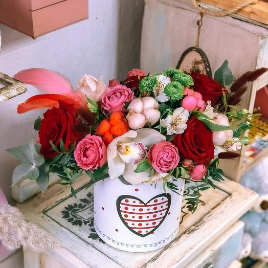 Цветы в коробке «Сердечко»