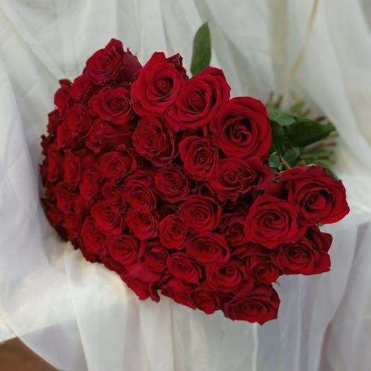 Букет из 51 крупной розы Эквадор 60см