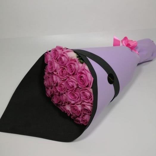 Букет из 25 розовых роз в фоамиране