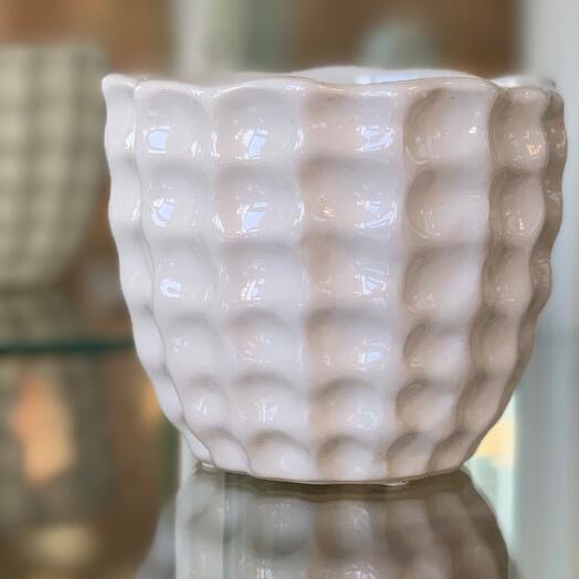 Кашпо керамика белое
