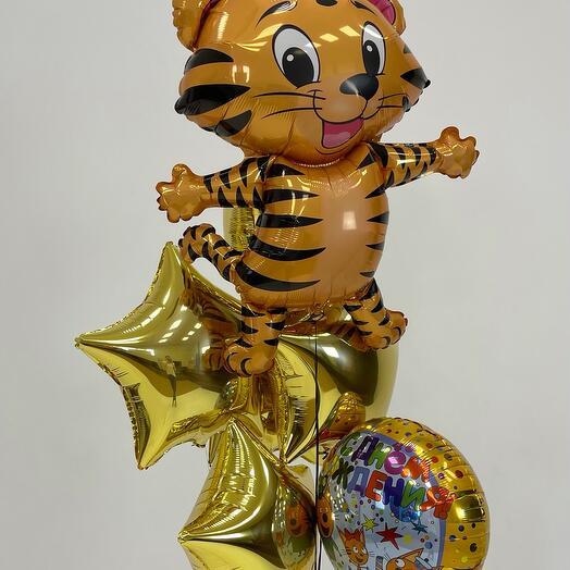 Набор шаров из фольги на День рождения 🥳 с Тигрёнком 🐯