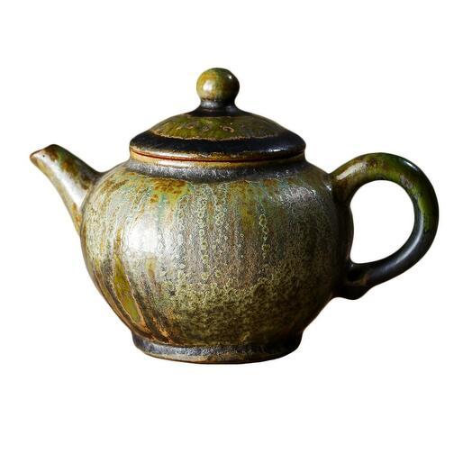 мастеровой чайник ручной работы, жёлтая глина с зелёной глазурью, 180 мл, Тайвань 1 шт