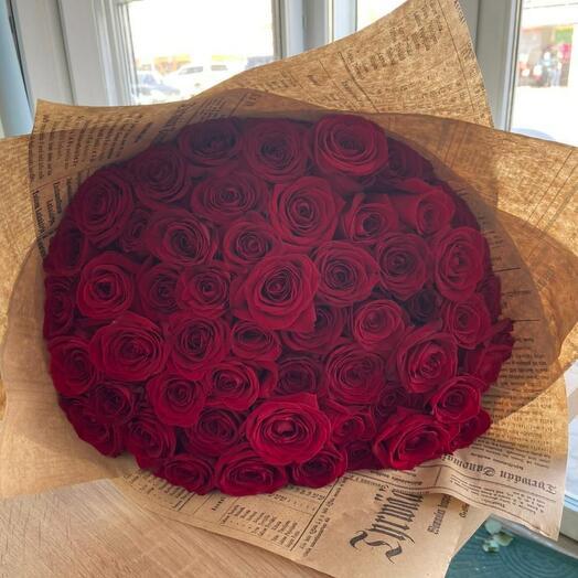 51 красная роза 40см