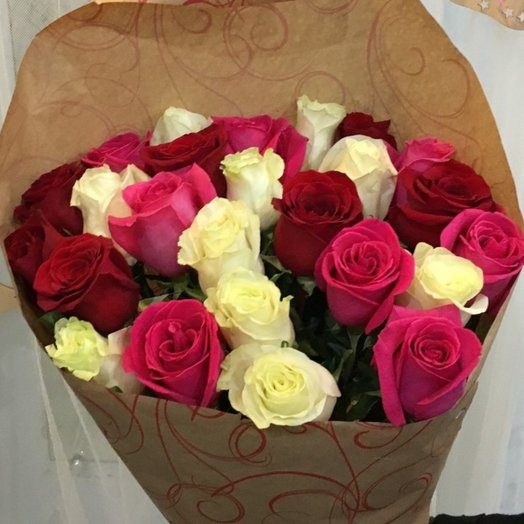 25 роз ассорти: букеты цветов на заказ Flowwow