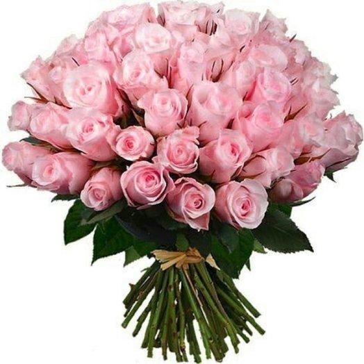 Букет  Счастье из 51 розовой розы: букеты цветов на заказ Flowwow