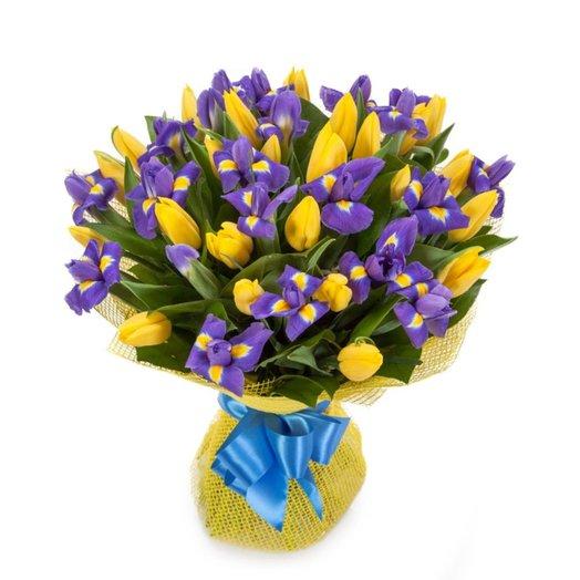 Букет из тюльпанов и ирисов  Сен-Тропе: букеты цветов на заказ Flowwow