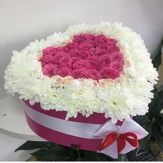 Сердце из роз и хризантем: букеты цветов на заказ Flowwow