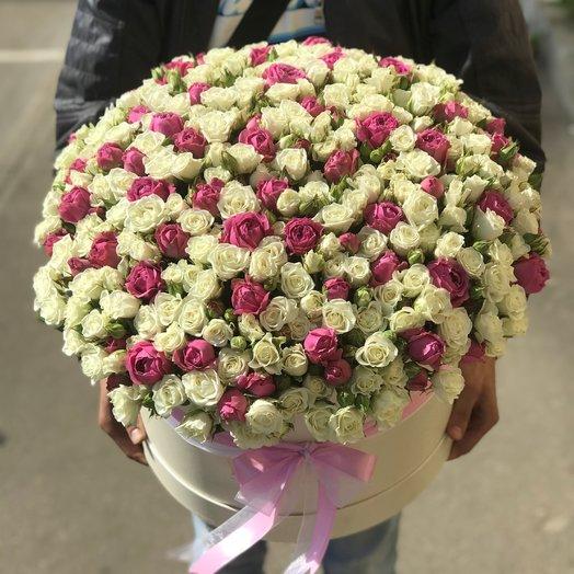 Коробки с цветами.Пионовидная кустовая роза. N102