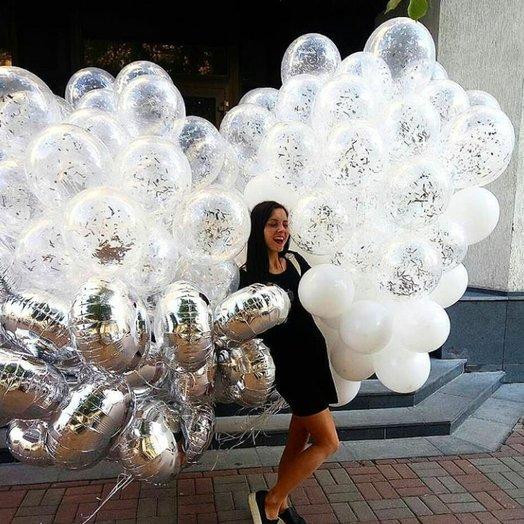 """Воздушный букет """"Серебряное счастье"""": букеты цветов на заказ Flowwow"""