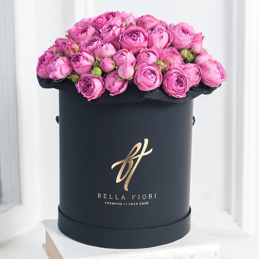 Фиолетовые пионовидные розы в коробке Royal: букеты цветов на заказ Flowwow