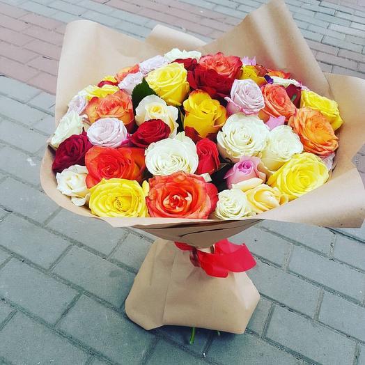 Букет 55 сочных роз