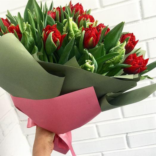 """Букет пионовидных тюльпанов """"Влюбленных тюльпанов"""" 39 шт: букеты цветов на заказ Flowwow"""