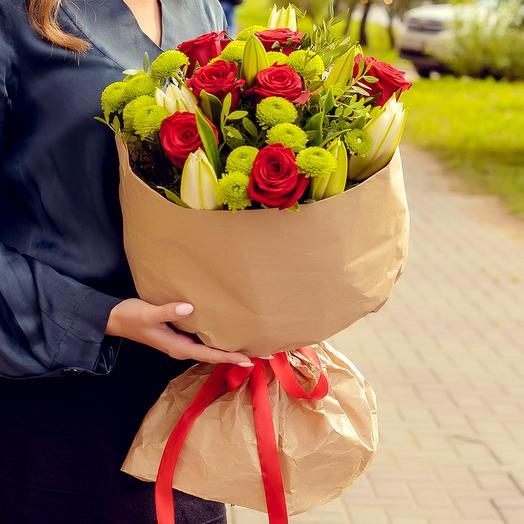Букет из лилий и роз: букеты цветов на заказ Flowwow