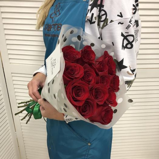 Букет 15 красных роз 50 см