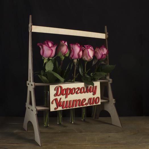 "Композиция ""Дорогому учителю"" из 5 роз: букеты цветов на заказ Flowwow"